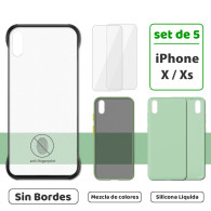 Fundas para iPhone X / Xs (Set de 5) 3 Fundas + 2 Micas