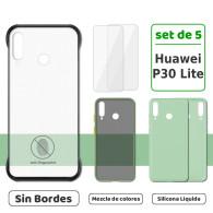 Fundas para Huawei P30 Lite (Set de 5) 3 Fundas + 2 Micas