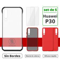 Fundas para Huawei P30 (Set de 5) 3 Fundas + 2 Micas