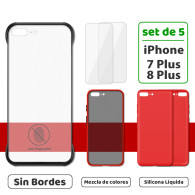 Fundas para iPhone 7 Plus / 8 Plus (Set de 5) 3 Fundas + 2 Micas