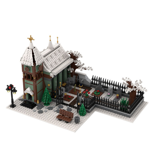 MOC-31149 Winter Village Church with Graveyard