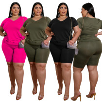 V-neck Solid Color Plus Size Comfort Two Piece Outfit