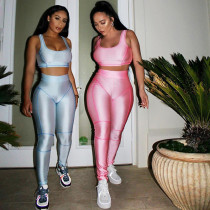 2020 Women New Tight Glossy Sport Suit