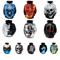 Halloween Skull Ghost 3D Printed Sports Casual Hooded Sweater