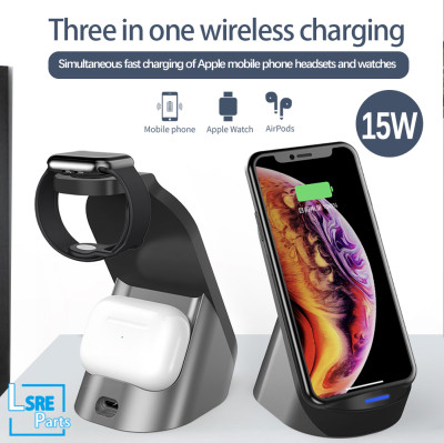 3 in 1 wireless charger for smartphone. Watch, Airpods, 15W, 10pcs