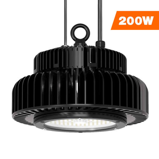 LED High Bay Lighting, 200W UFO High Bay Workshop Light for Garage Warehouse Black