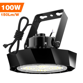 Led High Bay Lights,100 watt,150lm/w,15000 Lumens,500W Metal Halide Equal,US Plug 8ft Power Cord,5000K