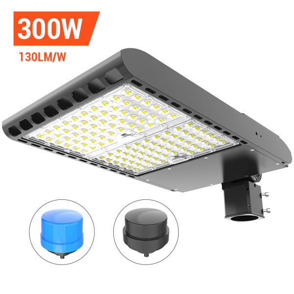 Parking Lot Light, Area / Shoebox / Street / Pole Light 300 Watt,39,000 Lumens,1200W Metal Halide Equal,Photocell Sensor,Slip-Fitter Mountings,5700K Daylight,Wholesaling And Retailing