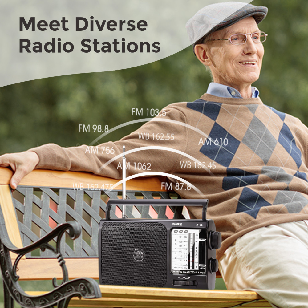 Portable Weather NOAA Radio Powered by 3X D Cell Batteries or AC Power for Household and Outdoor PRUNUS J-05 Transistor Radio Battery Operated AM FM Radio with Excellent Reception