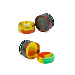NovaBong offer colorful 5 layer aluminum alloy concave silicone bottom cover with diameter 63mm herb grinder wholesale