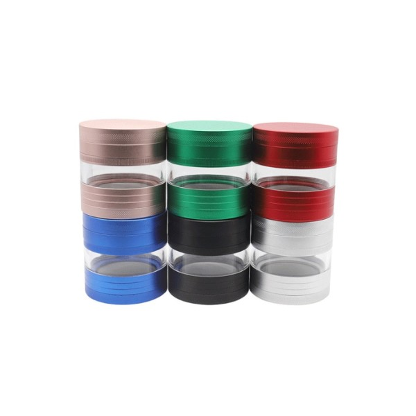 NovaBong new design multi colors with 4 layer aluminum alloy diameter 63mm with mid transpearent window herb grinder