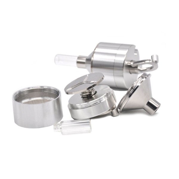 NovaBong offer 4 Parts 56mm Aluminum Metal Powder Spice Hand Mill herb Grinder Crusher With Glass Snuff Snorter Bottle