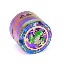 NovaBong offer multi new design tobacco herb grinder 4 layer alumimun alloy signal shape teeth clear top frog spider skull cross cover with rainbow colors