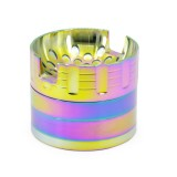 NovaBong offer New Style iceblue rainbow colors with voice box shape convave design 4 layer zinc alloy 63mm diameter herb grinder