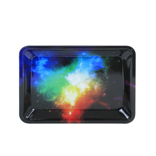 Colorful Galaxy Painting Metal Rolling Tray   7 inch *5 inch