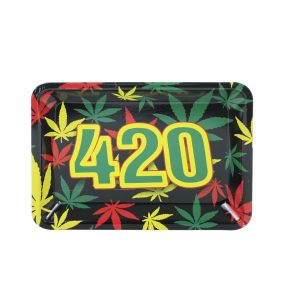 Celebrate 420 painting Metal Rolling Tray   7 inch *5 inch