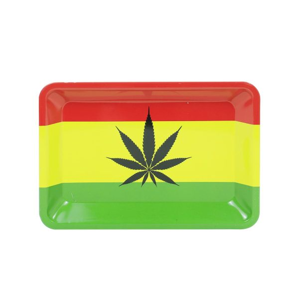 Red&Yellow&Green leaves Metal Rolling Tray    7 inch *5 inch