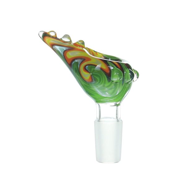 14MM Male Joint Yellow and Green ox horn Rasta  Glass bowl