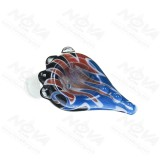 14MM Male Joint Black and Blue ox horn Rasta  glass bowl