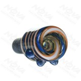 14MM Male Blue salient point on Black Glass Bowl