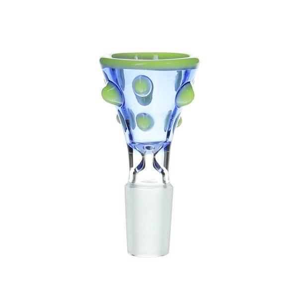 14MM Male Green salient point on Blue Glass Bowl