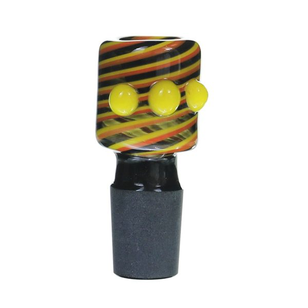 18MM Male Yellow salient point on Black line Glass Bowl
