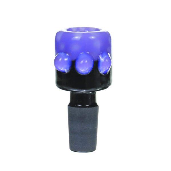 14MM Male Purple salient point on Black glass bowl