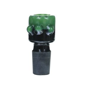 18MM Male Green salient point on Black Glass Bowl