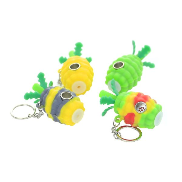 2.5 inch Pineapple Silicone Hand Pipe with Keychain