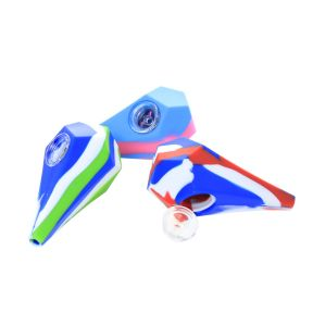 4 inch Silicone Diamond Hand Pipe With Glass Bowl