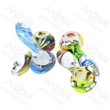 4.5 inch Colorful Printed Silicone Hand pipe With Glass bowl