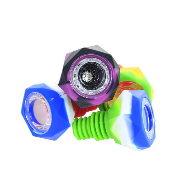 2 inch Colored polygon Silicone Bong bowl 14mm/18mm