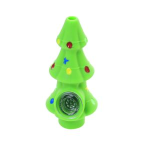 4.8 inch Christmas tree Silicone Hand Pipe With glass Bowl