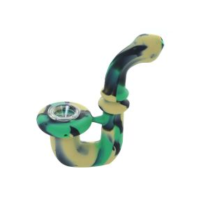 5.5 inch Colored Sherlock Silicone Hand Pipe With glass Bowl
