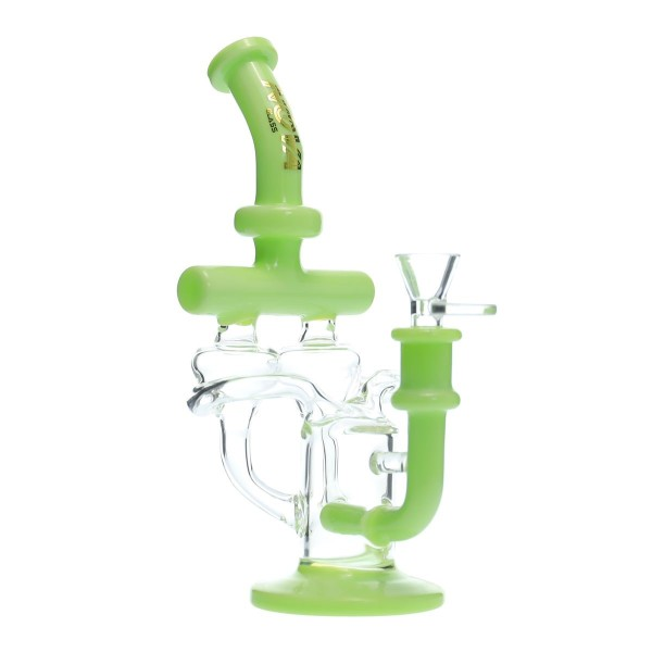 Nova Glass 9.2 inch Green double Recycler Dab Rig