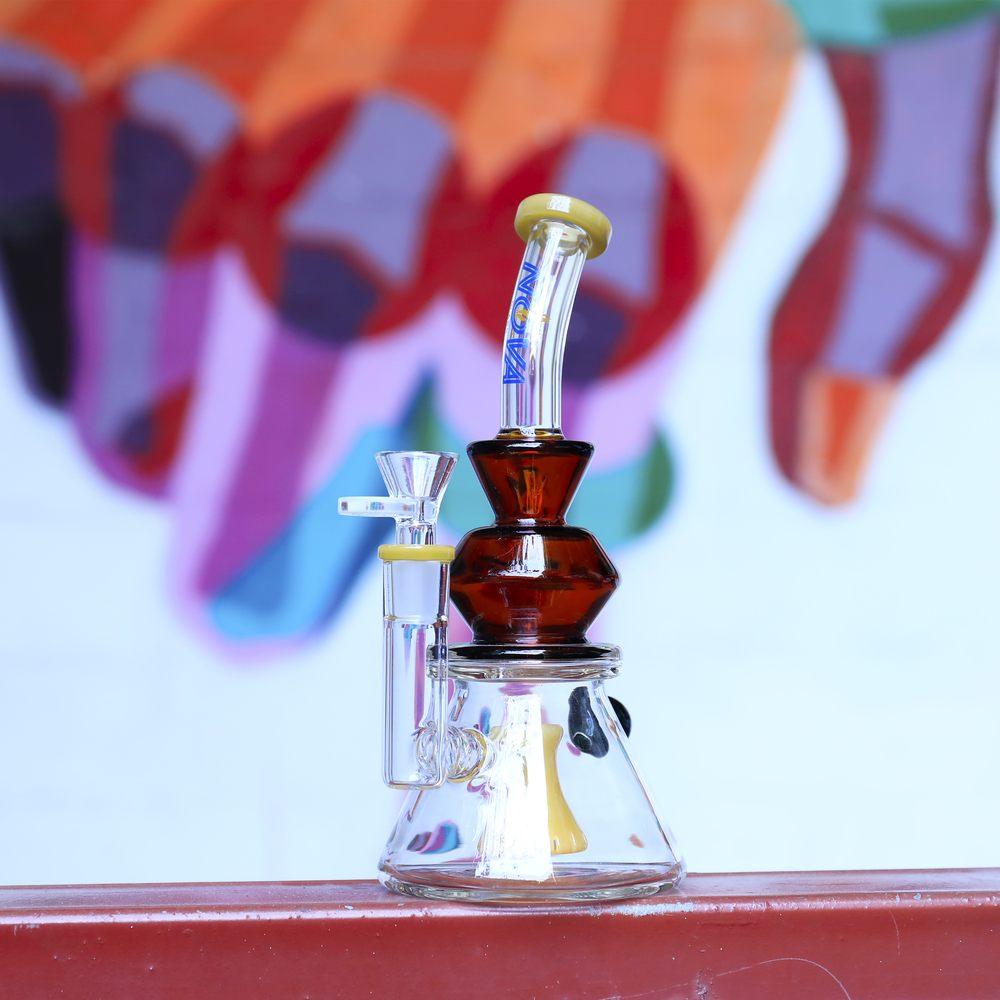 Nova Glass 9 inch colored Dab Rigs hammer perc with splits diffuser