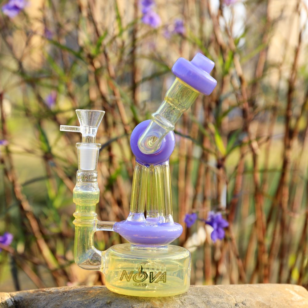 Nova Glass 8 inch colored fumed recycler matrix perc Recycler Dab Rig