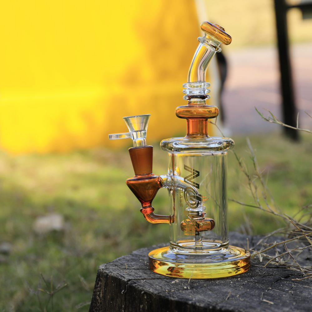 Nova Glass 7.8 inch colored mini Dab Rig with matrix perc Glass Water Pipe