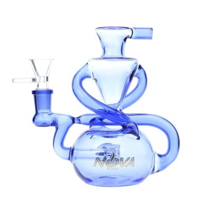 Nova Glass 6.4 inch colored recycler with barrel perc Recycler Dab Rig