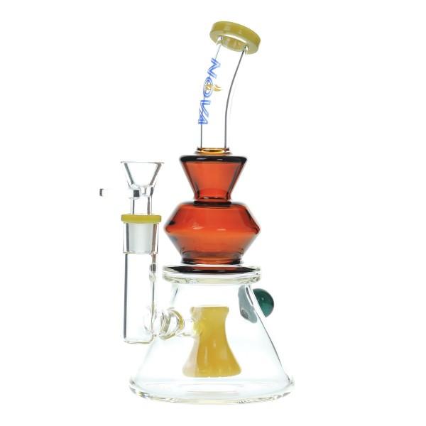 Nova Glass 9 inch colored Dab Rig hammer perc with splits diffuser