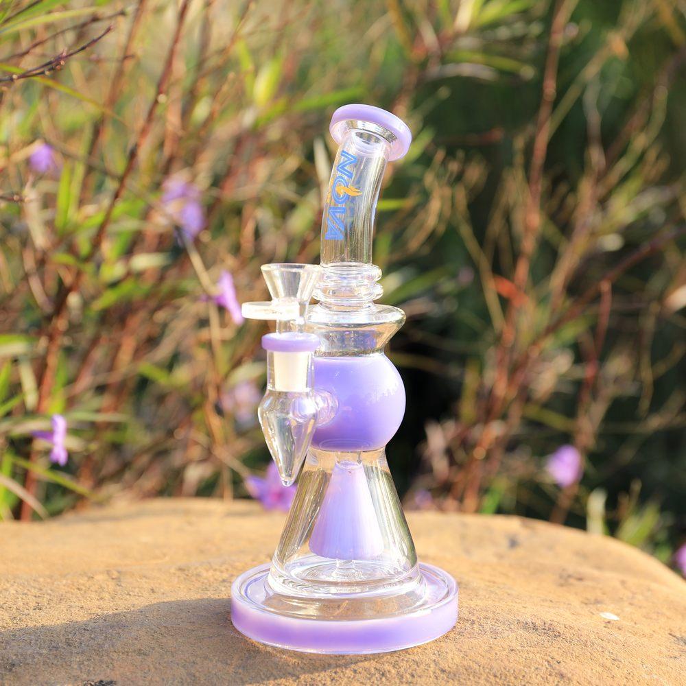 Nova Glass 9.2 inch colored  accented cone perc Dab Rig