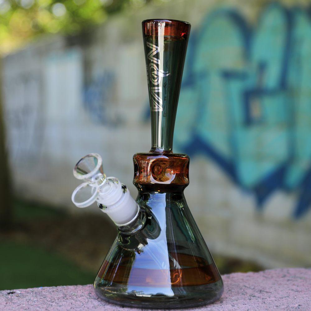 Nova Glass 10 inch colored mini beaker with ice pinch Dab Bong