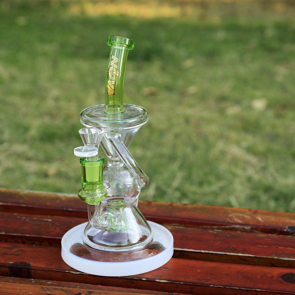 Nova Glass 10.2 inch colored recycler trapezoid perc Glass Bong