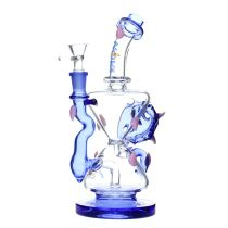 Nova Glass 9 inch colored Skull double funnel Recycler Bong