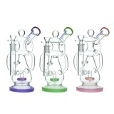 Nova Glass 8.4 inch colored recycler bong with matrix perc dab rig