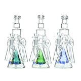 Nova Glass 9 inch Colored 3 Arm recycle with triangle Perc glass water pipe