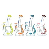Nova Glass 7 inch colored mini Dab Rig with matrix perc and  Serpent Tail oil rig