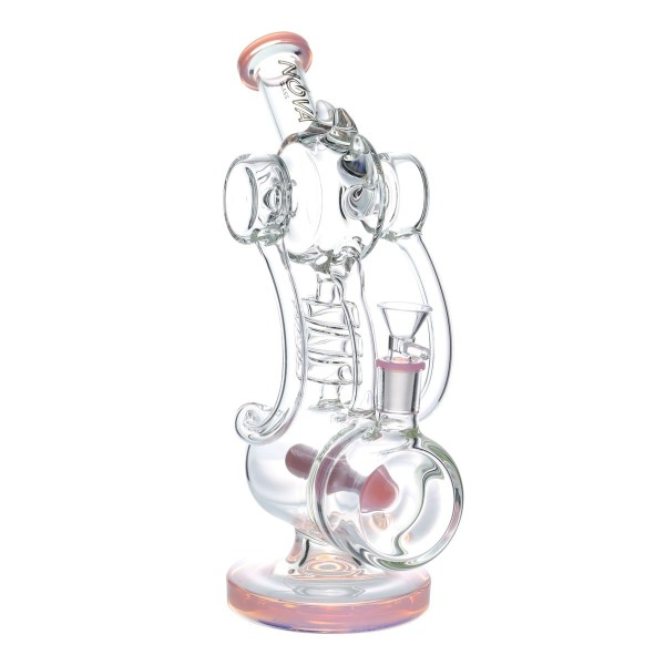 Nova Glass 12 inch colored double chamber recycler bong