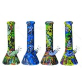 12 inch Unbreakable Pretty coll SKULL Printed Silicone Beaker Bong With Quartz Banger/Bong Bowl