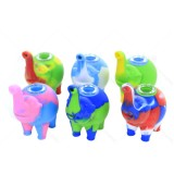 4.5 inch Silicone Elephant Hand Pipe Assorted with Thick Bowl